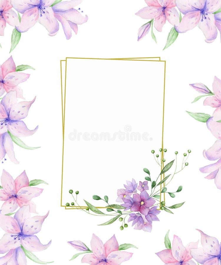 Struttura floreale verticale con le rose rosa e le foglie decorative Progettazione dell'invito dell'acquerello Fondo per conserva illustrazione di stock
