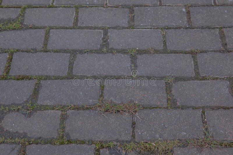 Struttura, fondo La pavimentazione della pietra del granito Via pavimentata della carreggiata qualsiasi area o superficie pavimen fotografia stock