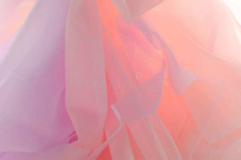 Struttura, fondo, modello Tessuto trasparente di seta Urlo blu fotografia stock