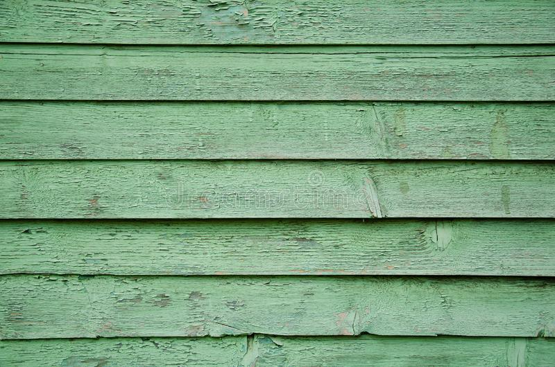 Struttura, fondo plance di legno sporche verdi di vecchie di una parete fotografia stock