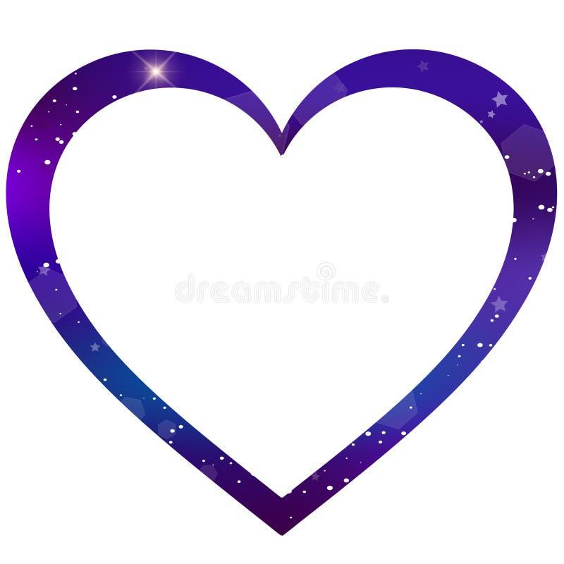 Struttura a forma di della foto del cuore della galassia di vettore su fondo bianco royalty illustrazione gratis