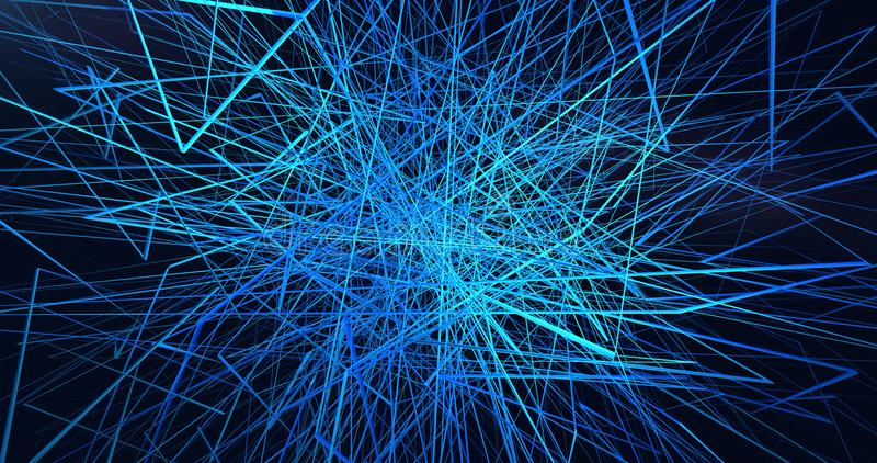 Struttura geometrica d del neuronet della rete delle linee blu di luminescenza illustrazione di stock