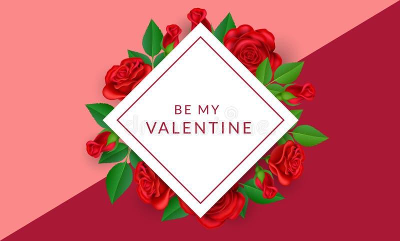 Struttura geometrica del biglietto di S. Valentino con le rose rosse illustrazione vettoriale