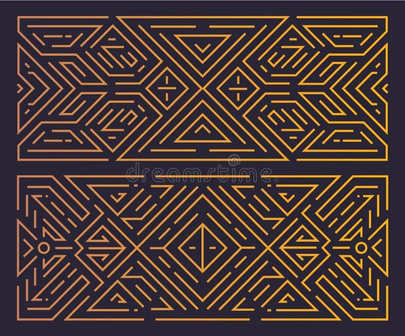 Struttura geometrica di art deco del monogramma di vettore, fondo lineare dorato, stile d'annata Orientamento orizzontale illustrazione vettoriale
