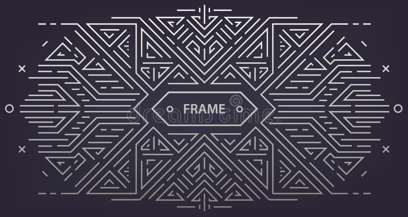Struttura geometrica di art deco dell'estratto di vettore, confine, fondo Stile d'avanguardia lineare Elementi di progettazione d illustrazione vettoriale