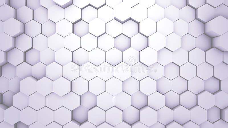 Struttura geometrica di esagono dell'estratto Illustrazione di superficie bianca Fondo esagonale leggero dell'impianto a scacchie illustrazione vettoriale