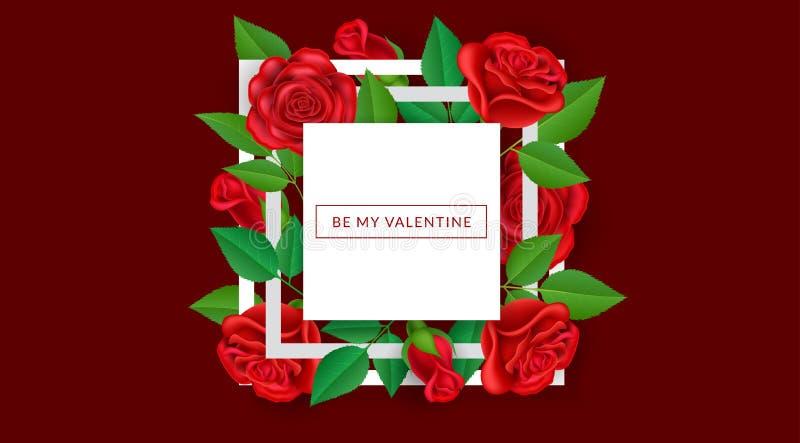Struttura geometrica di San Valentino con la rosa rossa royalty illustrazione gratis