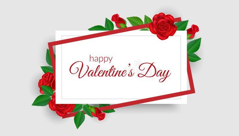 Struttura geometrica di San Valentino con la rosa rossa illustrazione di stock