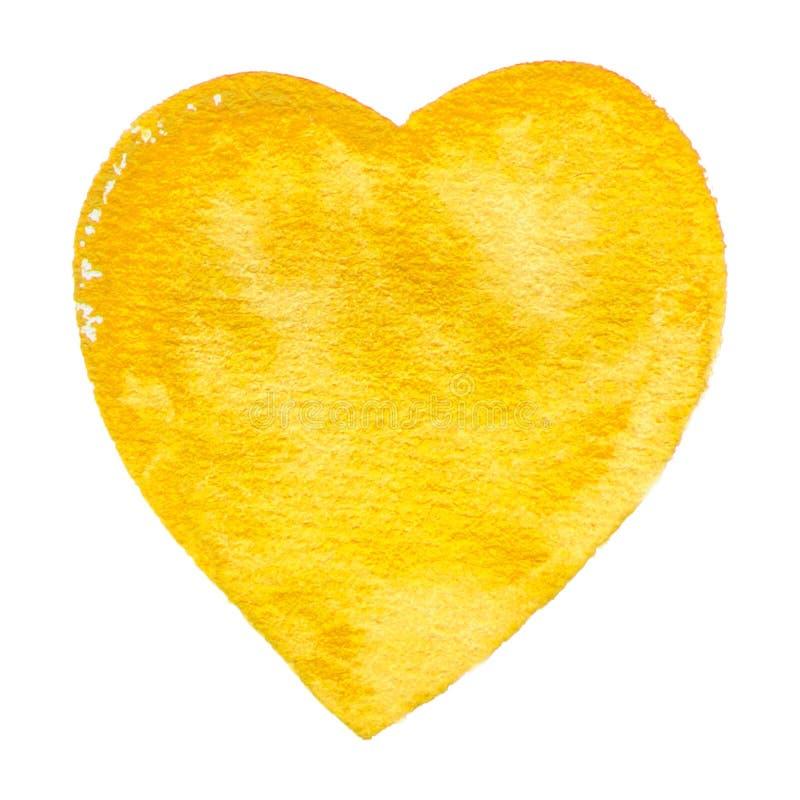 Struttura gialla della pittura dell'acquerello del cuore di vettore isolata su bianco per la vostra progettazione royalty illustrazione gratis