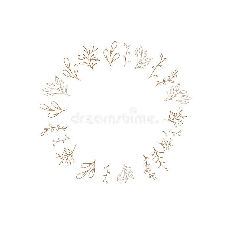 Struttura gialla di vettore con i fiori Disegno di scarabocchio Nozze, decorazione di autunno Elemento disegnato a mano di proget illustrazione vettoriale