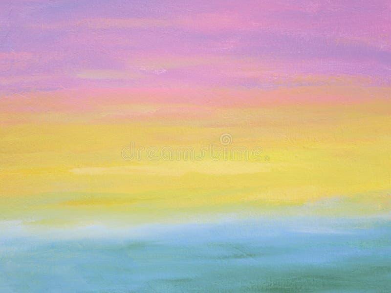 Struttura gialla e blu di rosa di colore pastello dell'estratto tre della pittura sul fondo della parete del cemento immagine stock