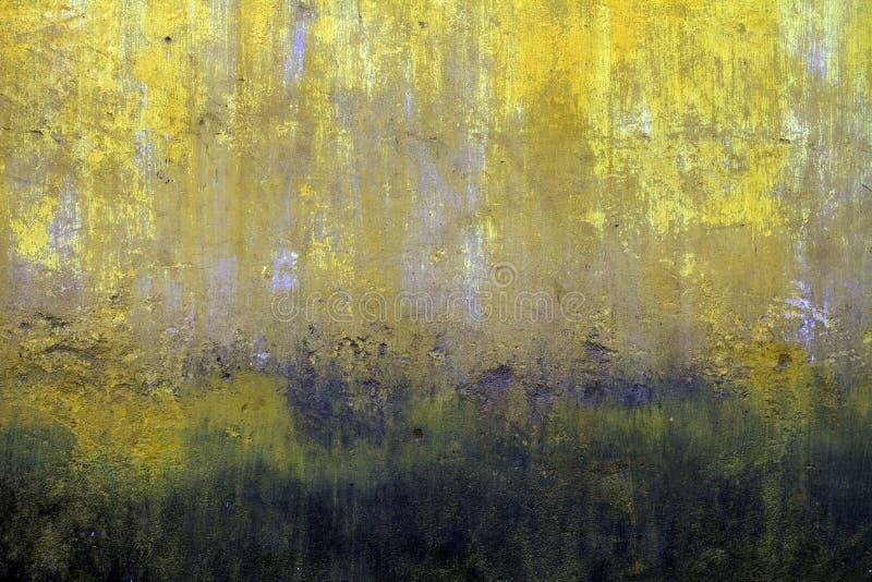 Struttura gialla sbiadita molto vecchia della parete fotografia stock