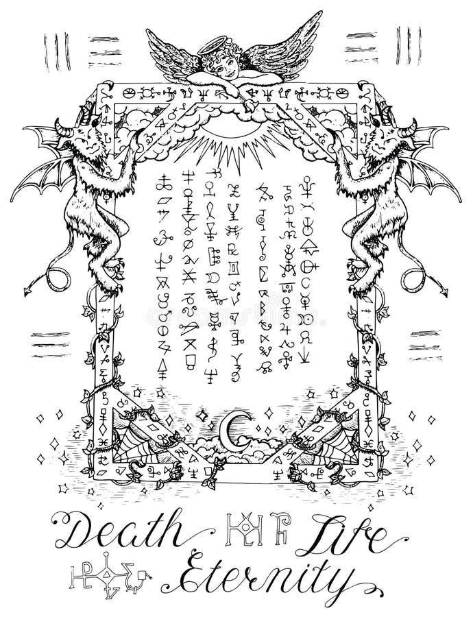 Struttura gotica con l'angelo ed i demoni illustrazione di stock