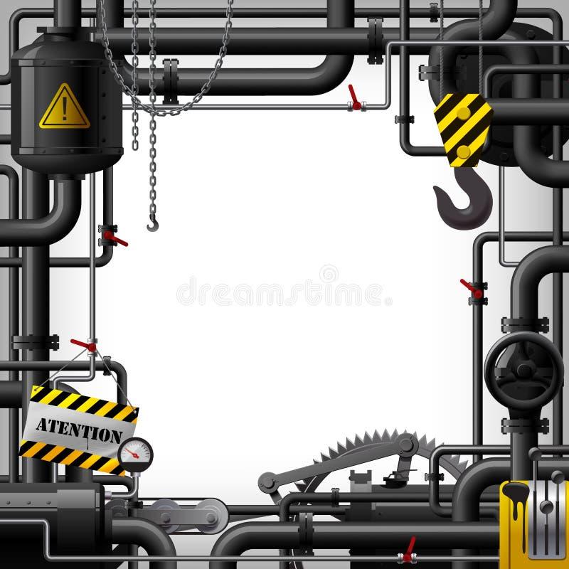 Struttura industriale con i tubi neri e gli ingranaggi a macchina illustrazione vettoriale