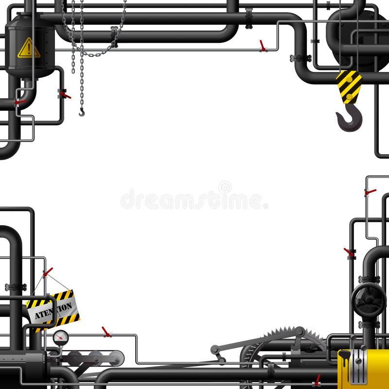 Struttura industriale con i tubi neri e gli ingranaggi a macchina illustrazione di stock