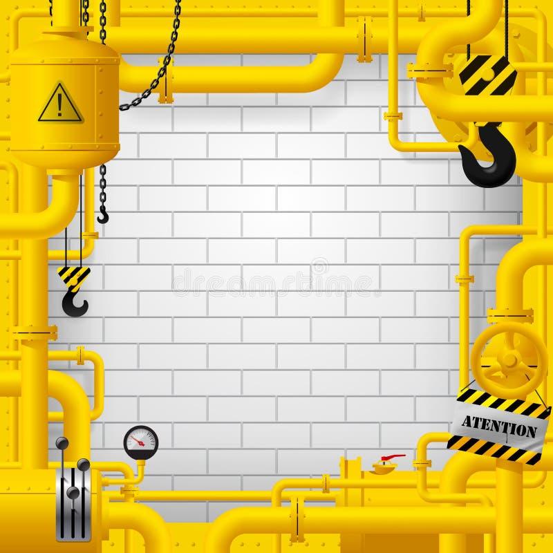 Struttura industriale con le condutture gialle ed altri oggetti contro royalty illustrazione gratis