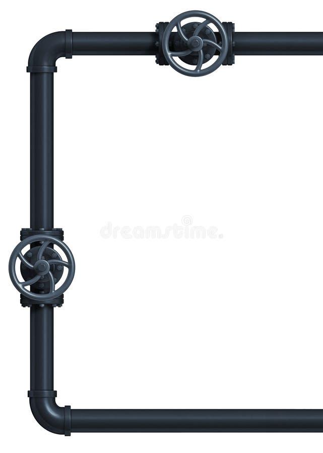 Struttura industriale della valvola del tubo Isolato su bianco illustrazione di stock
