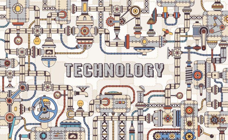Struttura industriale di concetto dello steampunk del macchinario dalle parti meccaniche illustrazione di stock