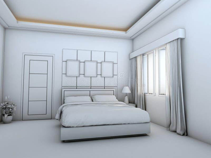 Struttura interna del cavo della stanza del letto illustrazione vettoriale