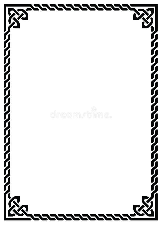 Struttura intrecciata nodo celtico - rettangolo illustrazione di stock