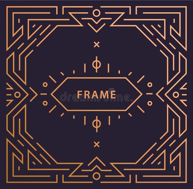 Struttura lineare di art deco di vettore con spazio per testo, modello d'annata geometrico di progettazione dell'invito di nozze, royalty illustrazione gratis