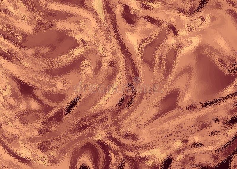 Struttura lucida della stagnola della scintilla bronzea dell'oro Metallo brillante liscio di rame Fondo metallico d'avanguardia p fotografia stock