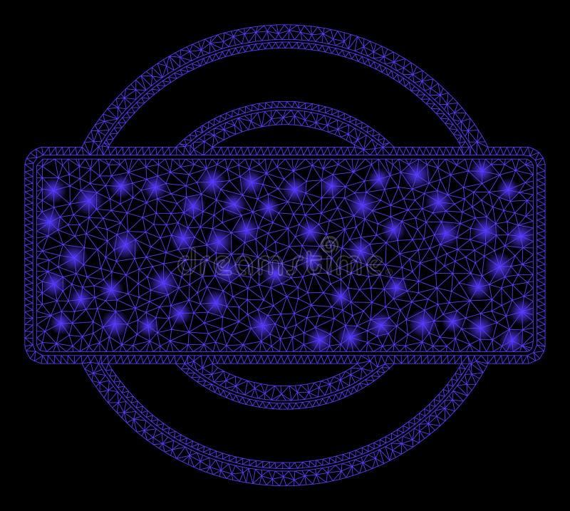 Struttura lucida di rettangolo e di Mesh Carcass Round con i punti luminosi illustrazione vettoriale