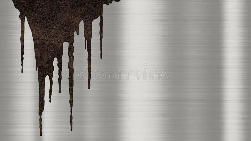 Struttura lucidata brillante del fondo del metallo con i gocciolamenti arrugginiti di liquido Piatto d'acciaio metallico spazzola illustrazione vettoriale