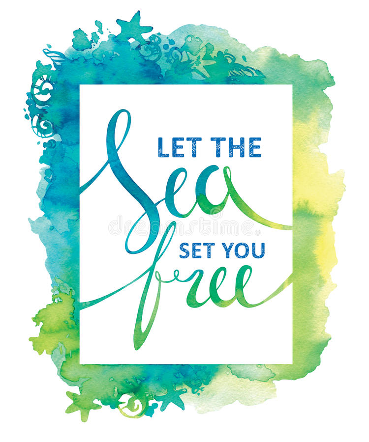 Struttura marina con le conchiglie Carta di vita di mare Calligrafia dell'acquerello Illustrazione di estate di viaggio illustrazione vettoriale