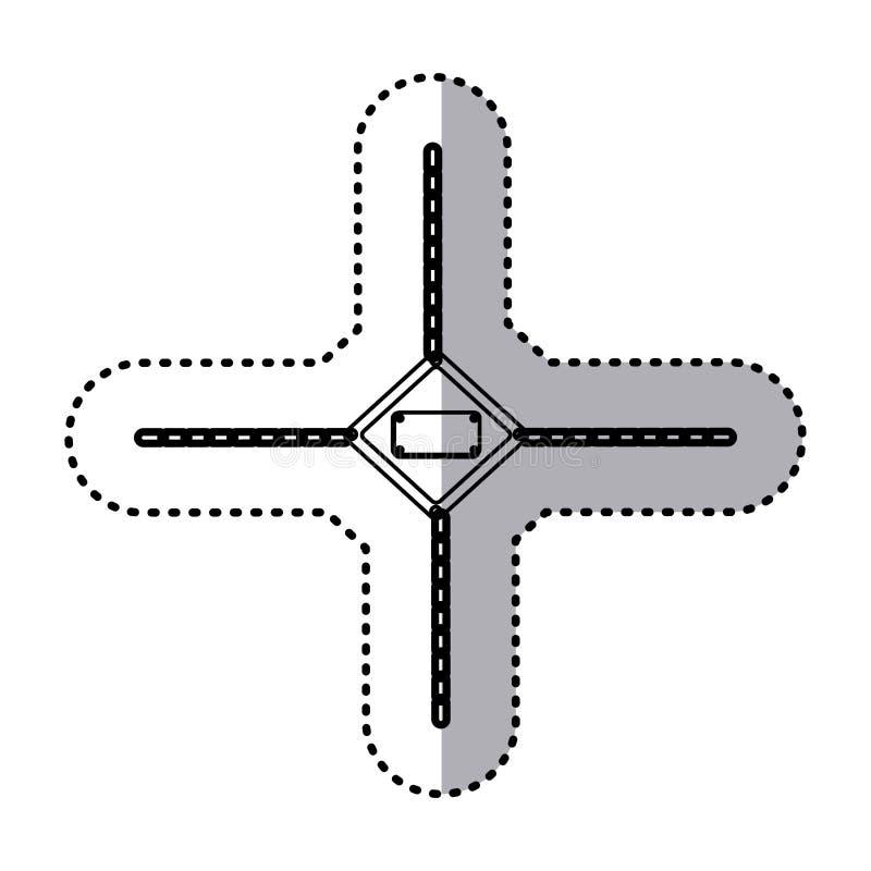 struttura metallica del diamante della siluetta dell'autoadesivo con la griglia perforata e le catene del metallo illustrazione vettoriale