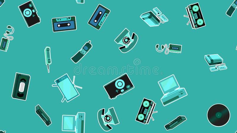 Struttura, modello senza cuciture di vecchi retro autoadesivi di elettronica dei pantaloni a vita bassa, telefono cellulare del r royalty illustrazione gratis