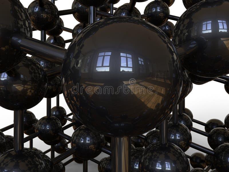 Struttura molecolare astratta con le riflessioni delle finestre illustrazione di stock