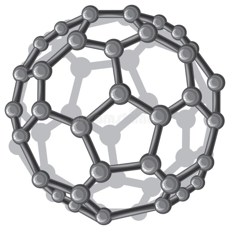 Struttura molecolare del buckyball C60 royalty illustrazione gratis