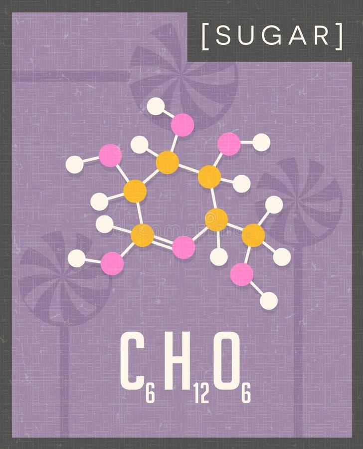 Struttura molecolare del manifesto scientifico di zucchero illustrazione vettoriale