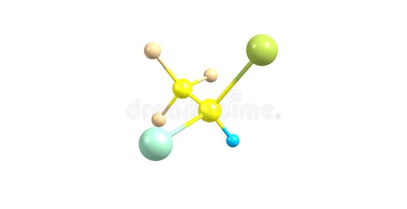 Struttura molecolare dell'alotano isolata su bianco royalty illustrazione gratis