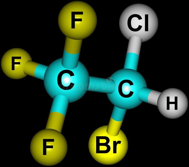 Struttura molecolare dell'alotano isolata sul nero illustrazione di stock