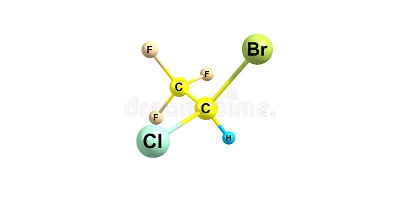 Struttura molecolare dell'alotano su bianco illustrazione di stock