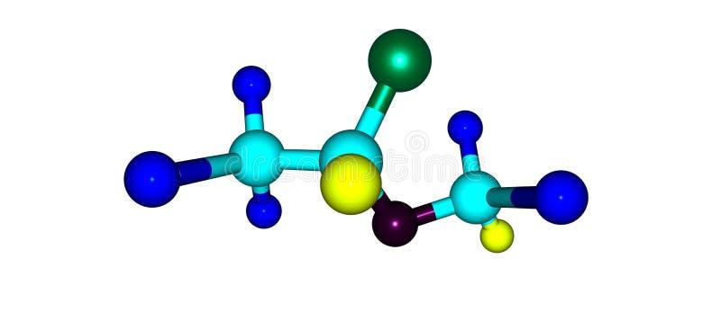 Struttura molecolare di Isoflurane isolata su bianco illustrazione vettoriale