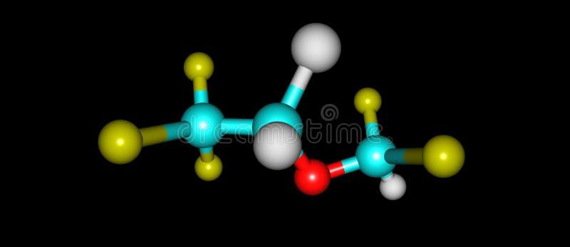 Struttura molecolare di Isoflurane isolata sul nero illustrazione vettoriale