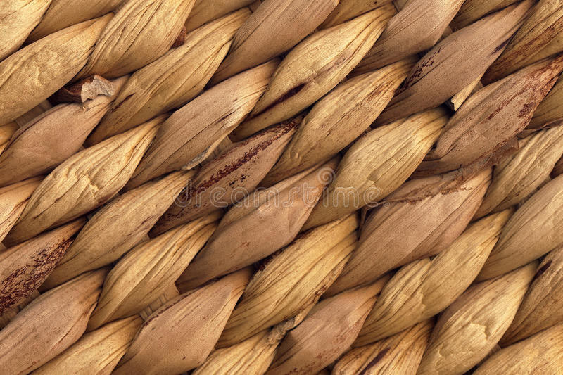 Struttura naturale di Mat Rough Plaiting Grunge Background della rafia di Brown fotografia stock