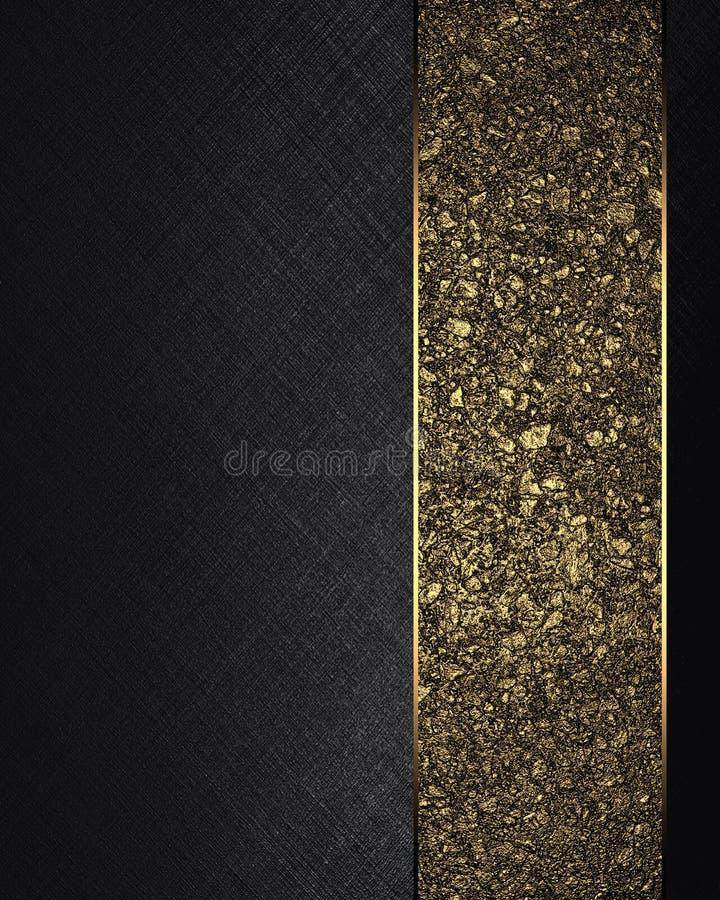 Struttura nera con il nastro dell'oro Elemento per progettazione Mascherina per il disegno copi lo spazio per l'opuscolo dell'ann illustrazione vettoriale
