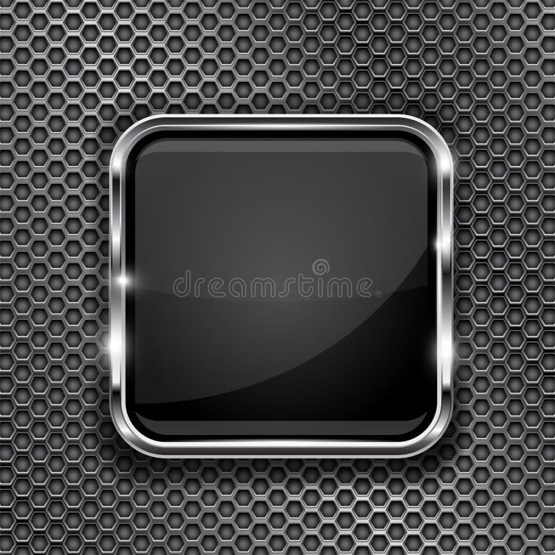 Struttura nera del bottone su fondo perforato Icona quadrata di vetro 3d con la struttura del metallo illustrazione di stock