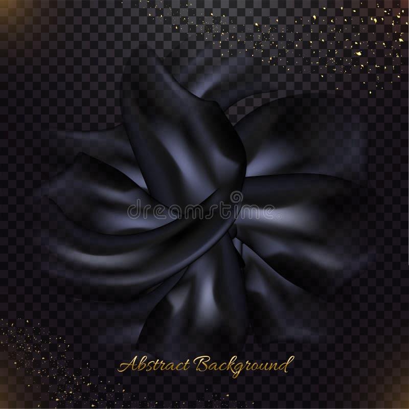 Struttura nera del tessuto di seta su trasparente royalty illustrazione gratis
