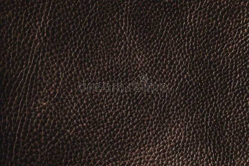 struttura o fondo del cuoio di marrone scuro fotografia stock