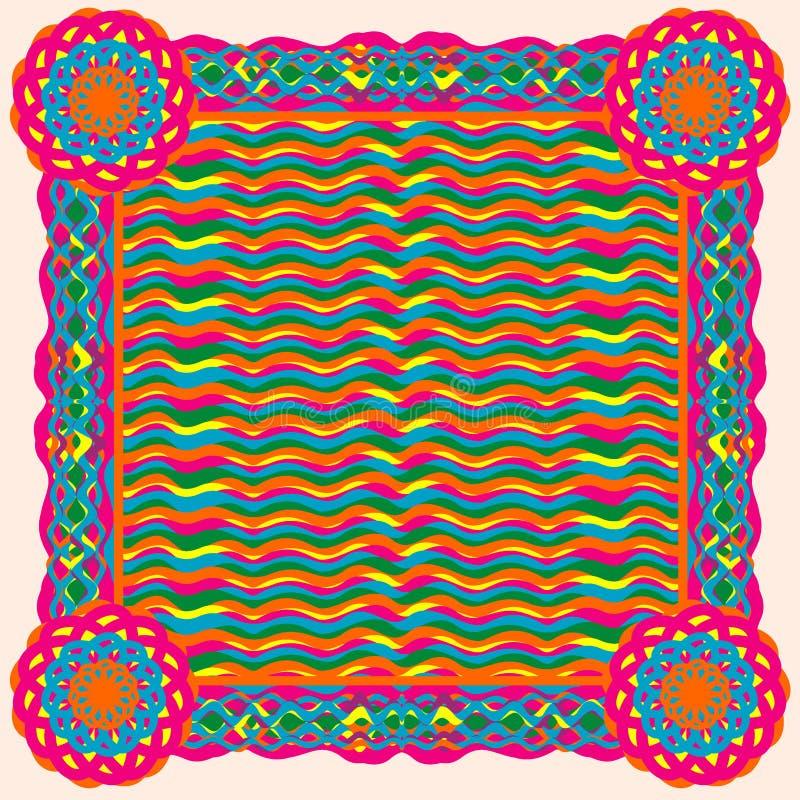 Struttura o fondo quadrata nello stile etnico illustrazione vettoriale