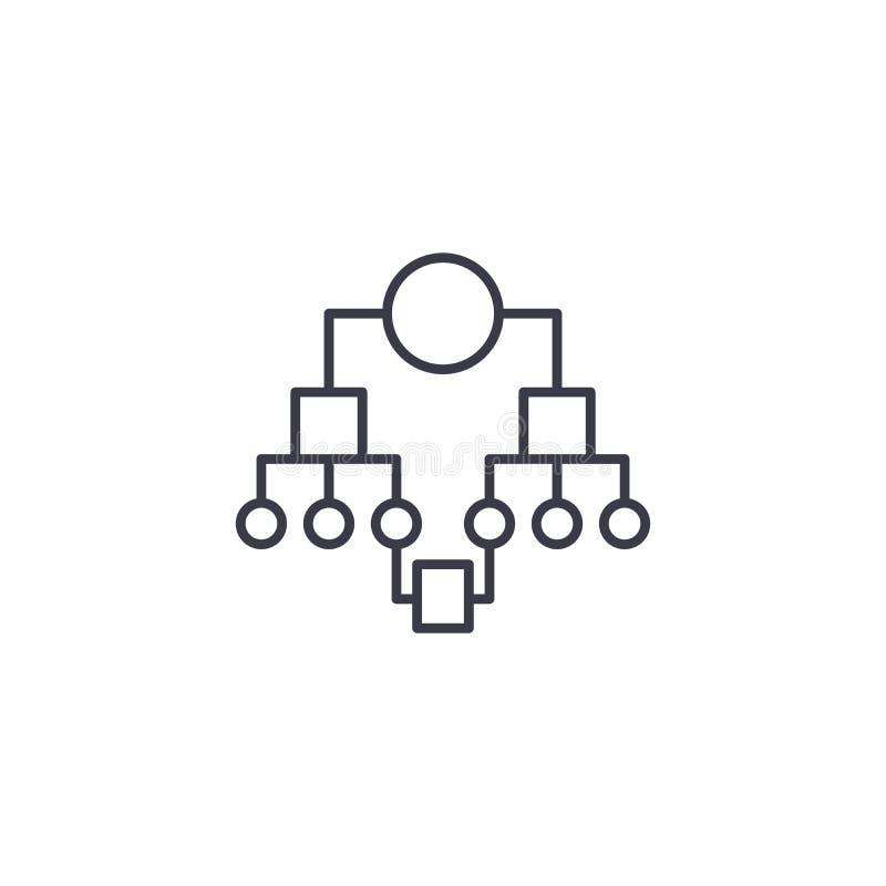 Struttura organizzativa del concetto lineare dell'icona della società Struttura organizzativa della linea segno di vettore, simbo illustrazione vettoriale