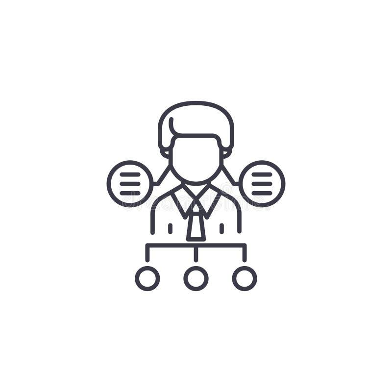Struttura organizzativa o concetto lineare dell'icona di ora Struttura organizzativa o linea segno di vettore, simbolo di ora illustrazione di stock