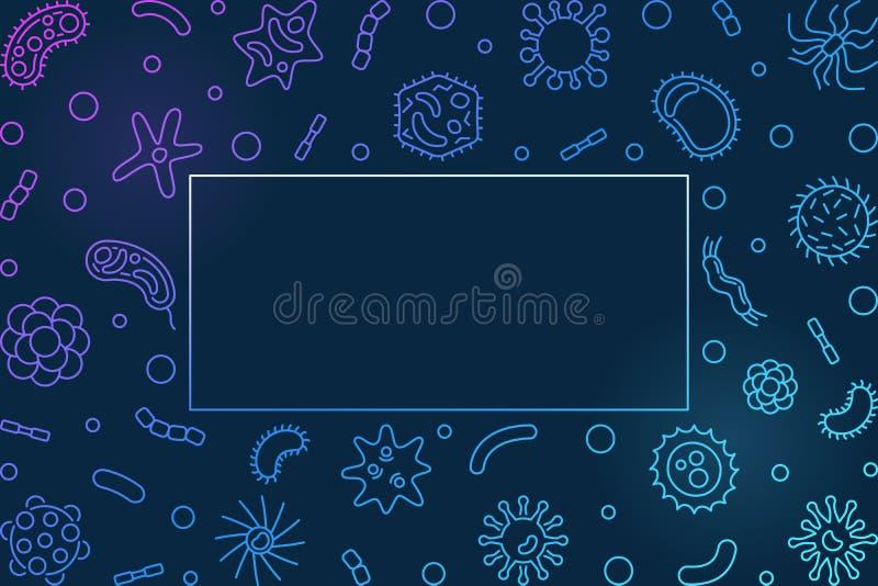 Struttura orizzontale blu di batteriologia - illustrazione del profilo di vettore illustrazione vettoriale
