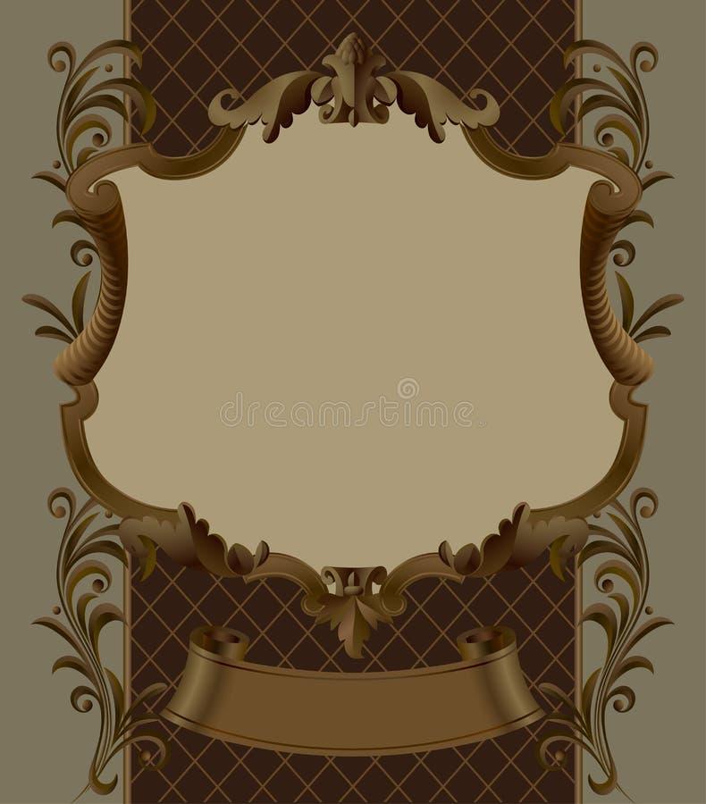 Struttura ornamentale d'annata ed insegna di Brown con retro decorativo royalty illustrazione gratis