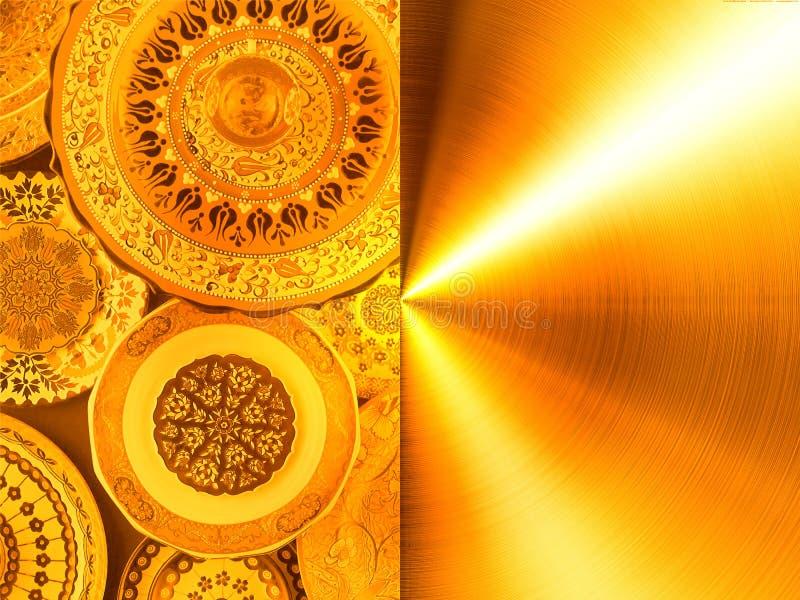 Struttura, oro dipinto dei piatti immagine stock